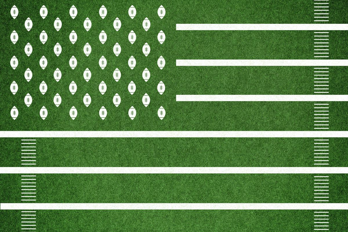 A green and white version of the U.S. flag made of football field yard lines