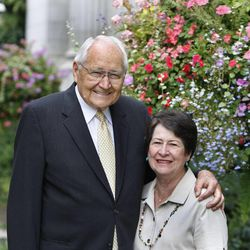 Elder L. Tom Perry stands with his wife, Barbara, July 31, 2012, in Salt Lake City.