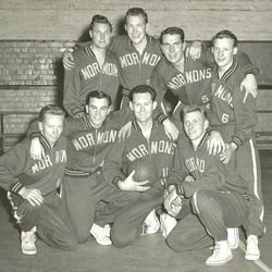 """Mormon Yankees in Adelaide, Australia, in 1954. They were a team of LDS missionaries. """"Spirit of the Game"""" is a movie at the Park City International Film Festival about the missionaries and their success.  The 1954 team was coached by Elder Loren C. Dunn. The team won the Adelaide city league championship and the South Australian state title. Back row, from right: Arthur Emery (local member), Elder Edward E. """"Ted"""" Johnson, Elder Norman L. Weitzeil, Elder Arnold A. Thayer. Front row: Elder Theodore E. """"Ted"""" Haynes, Elder Robert E. Steck, Elder Loren C. Dunn, Elder R. Halbert Christensen."""
