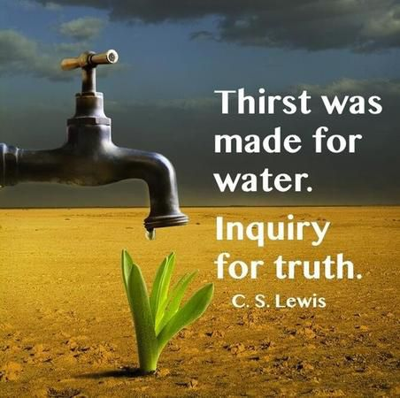 """Thirst was made for water; inquiry for truth."" — C.S. Lewis"