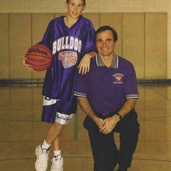 Jazz shooting guard Gordon Daniel Hayward, left, poses with his dad, Gordon Scott Hayward at his old gym in Brownsburg, Ind.