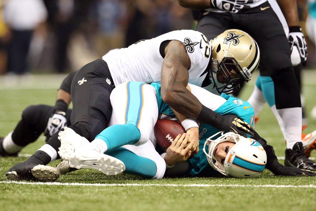 The Saints sacked Dolphins QB Ryan Tannehill 4 times last Monday night.