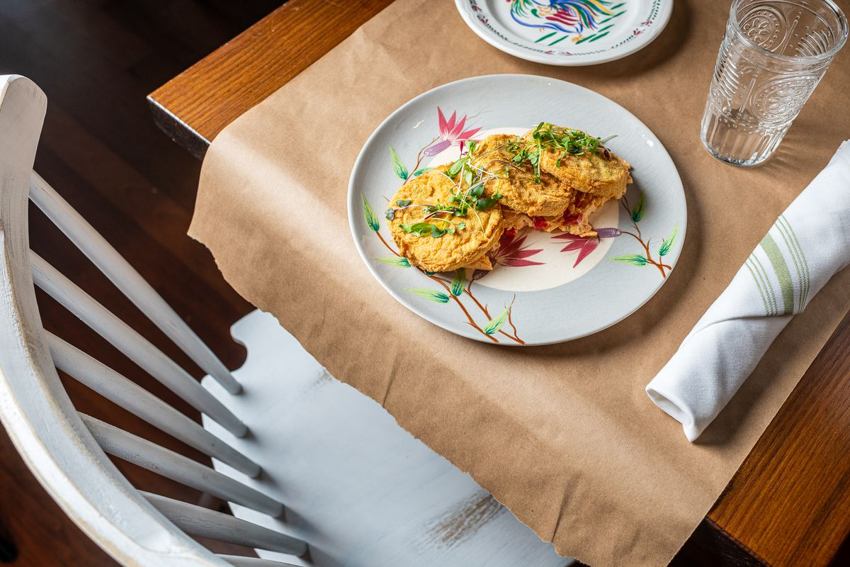 """A plate of vegan """"crab cakes"""" from Crazy Aunt Helen's is made out of okara, or soy pulp."""