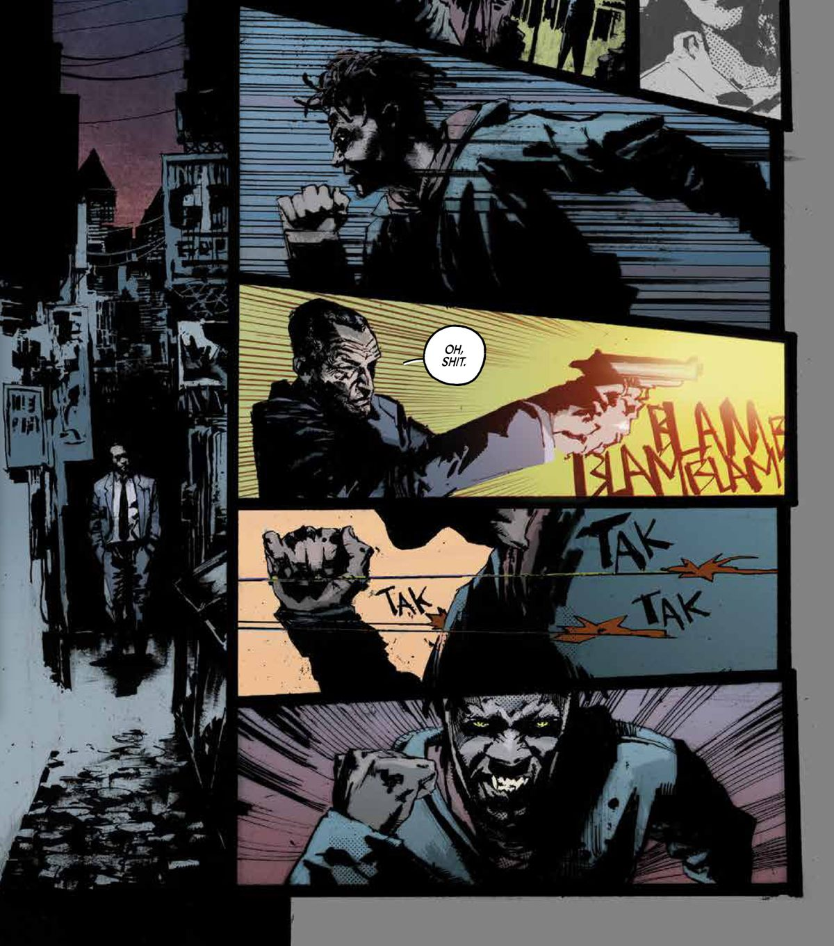 The main character, a black detective, fires on a young black gang member. The kid takes several bullets and keeps running — because he is a vampire. From Killadelphia #1, Image Comics (2019).