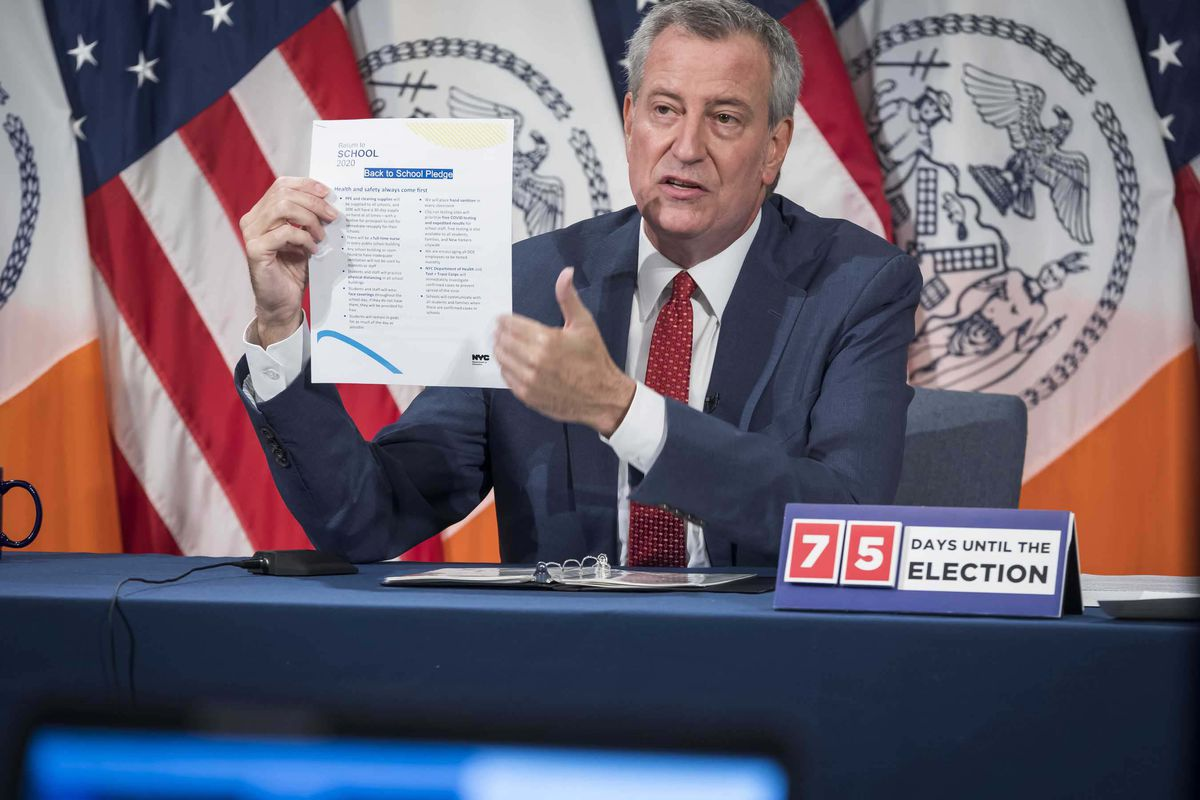 Mayor Bill de Blasio holds a media availability with Schools Chancellor Richard Carranza and others at City Hall, Aug. 20, 2020