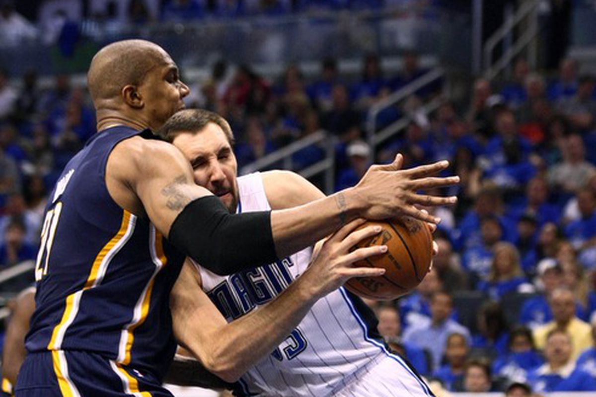Before meeting in the playoffs, Ryan Anderson helped beat the Pacers on Jan, 24, 2012.