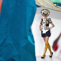 Models wear designs from the Spring/Summer 2013 Meadham Kirchoff collection at a central London  venue, during London Fashion Week, Tuesday, Sept. 18, 2012.