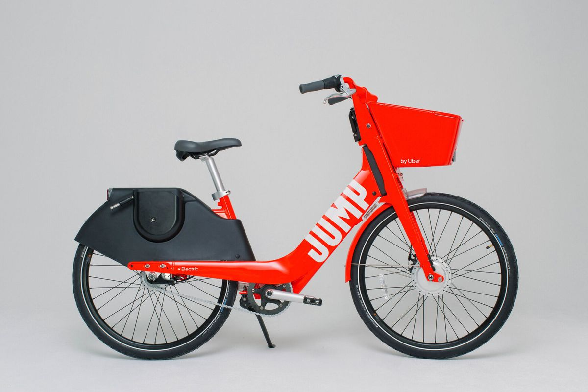 A red Uber Jump bike.