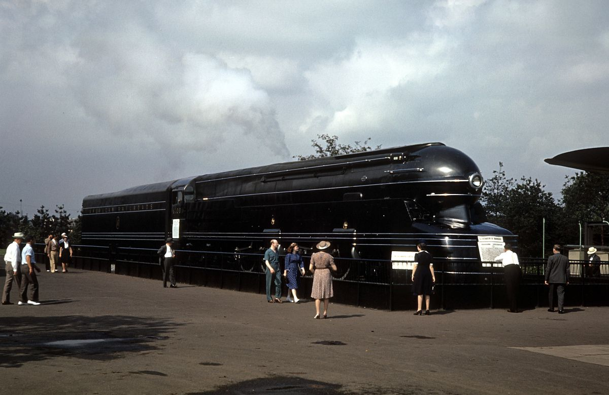 A streamlined locomotive designed by Raymond Loewy on display at the 1939 New York World's Fair.