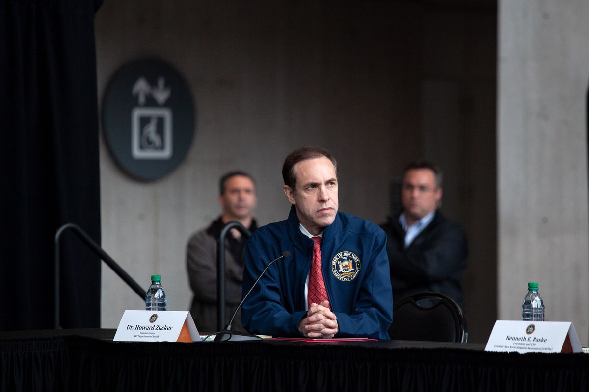 New York State Department of Health Commissioner Dr. Howard Zucker attends a press conference with Gov. Andrew Cuomo at the Jacob Javits Center.