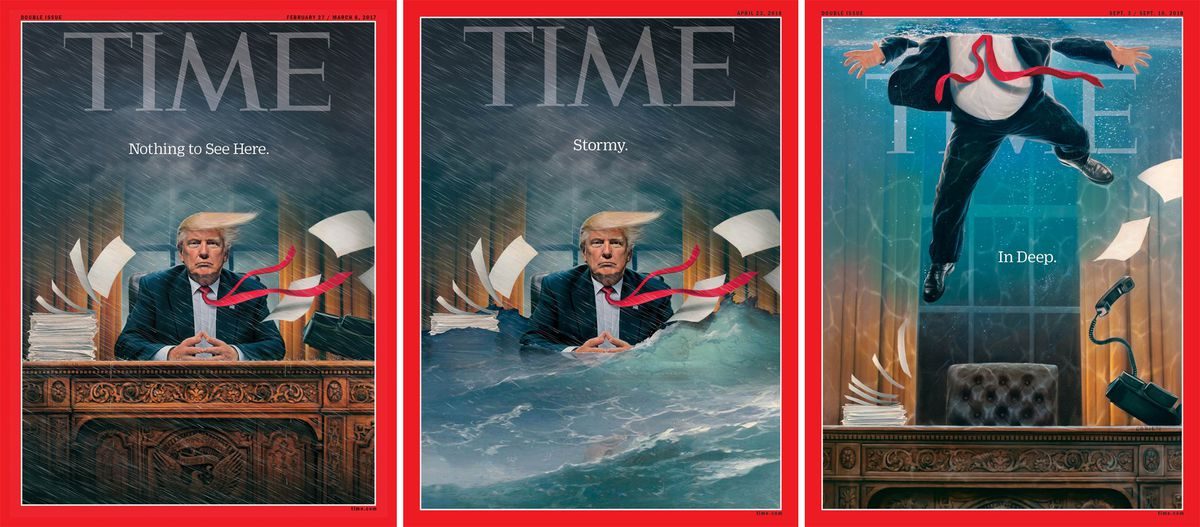 A series of three Time covers depicting Donald Trump drowning