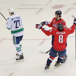 Carlson And Ovechkin Celebrate a Carlson Goal