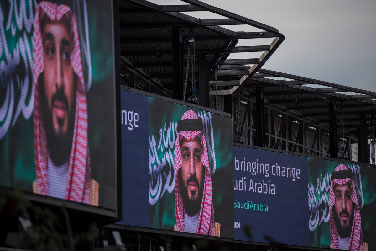Electronic billboards show advertisements for Saudi Crown Prince Mohammed bin Salman with the hashag #ANewSaudiArabia in London in March 2018.