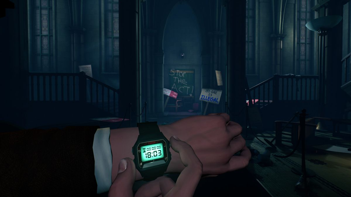 The Occupation - looking at wristwatch