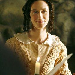 "Katherine Nelson Thompson as Emma Smith on the set of ""Emma Smith: My Story."""