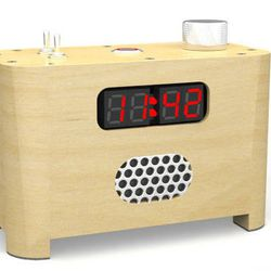 An undated photo provided by Sammut Tech, LLC, shows the LED Ramos alarm clock. Inventor Paul Sammut designed the clock that forces its owner to get out of bed after he found it hard to get out of bed after college. Once the alarm goes off, to stop it one must get out of bed, go into the kitchen or bathroom, and punch the day's date into a telephone-style keypad.