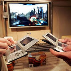 The Nintendo DS is equipped with a wireless card to allow multiplayer gaming within 30 to 100 feet.
