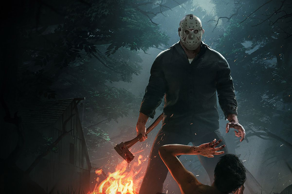 Jason from Friday the 13th: The Game stands over a camper