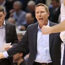 Gonzaga Bulldogs head coach Mark Few questions one of his players after a foul as BYU and Gonzaga play in an NCAA basketball game in the Marriott Center in Provo on Saturday, Feb. 24, 2018.