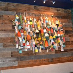 Fishing lures on the walls.
