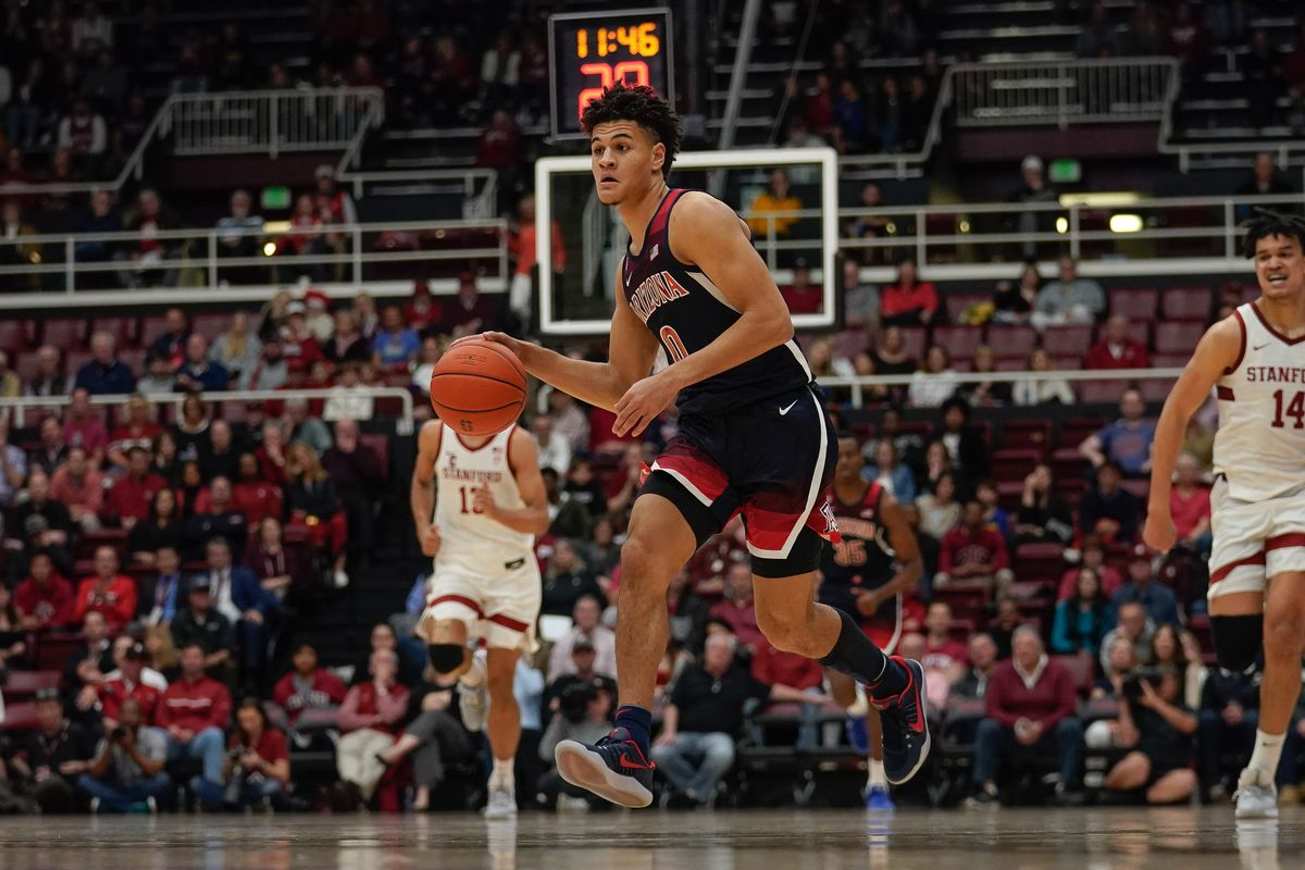 Arizona Wildcats guard Josh Green brings the ball up court against the Stanford Cardinal during the second half at Maples Pavilion.