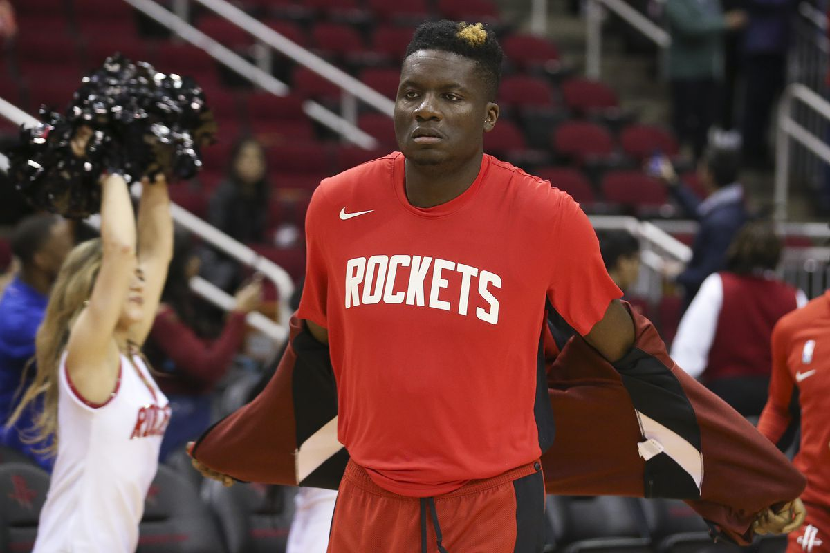 Houston Rockets center Clint Capela runs out onto the floor before playing against the Denver Nuggets at Toyota Center.