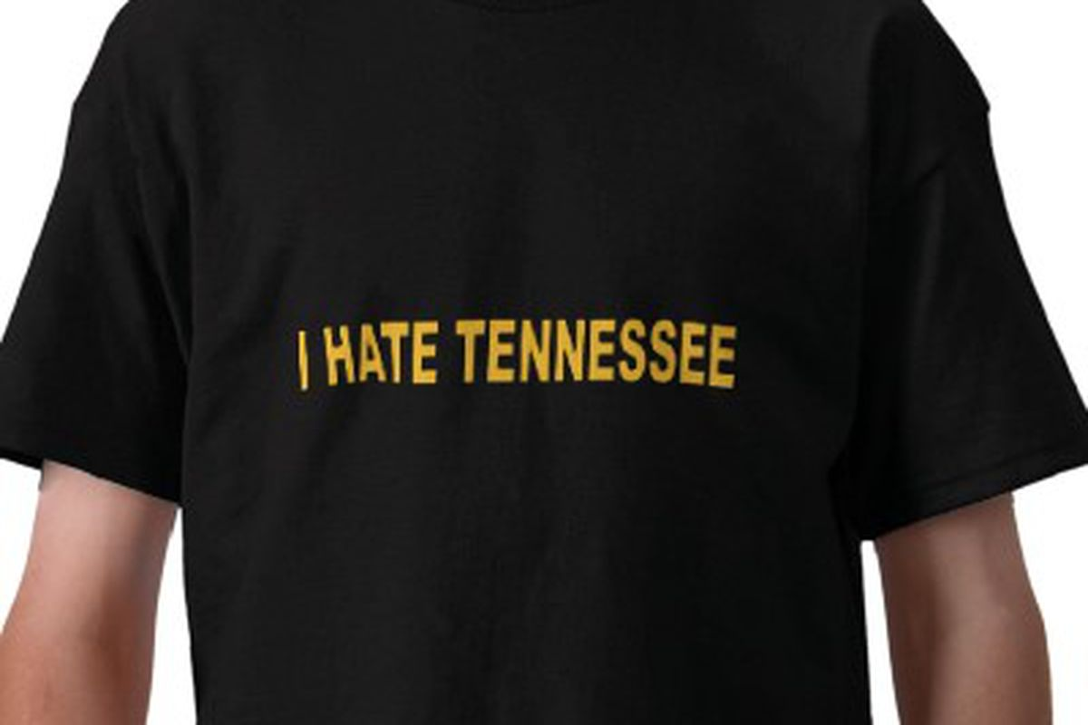 """Available in adult and kid's sizes <a href=""""http://www.zazzle.com/i_hate_tennessee_tshirt-235073899987770974"""" target=""""new"""">here</a>"""