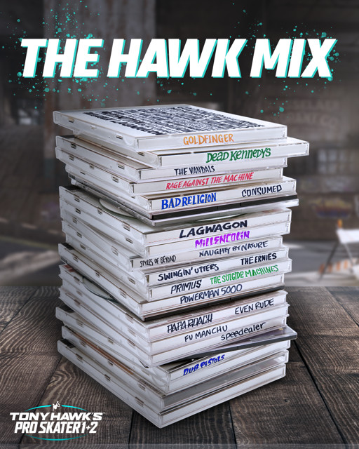 The tracklist teaser for Tony Hawk Pro Skater 1 and 2