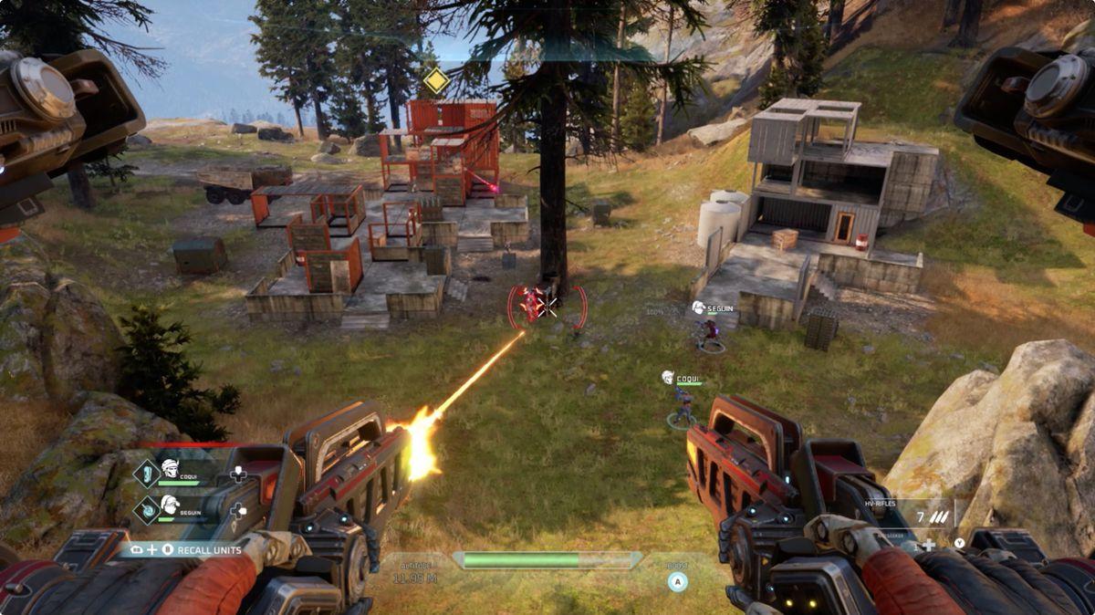 Disintegration screenshot showing combat from above