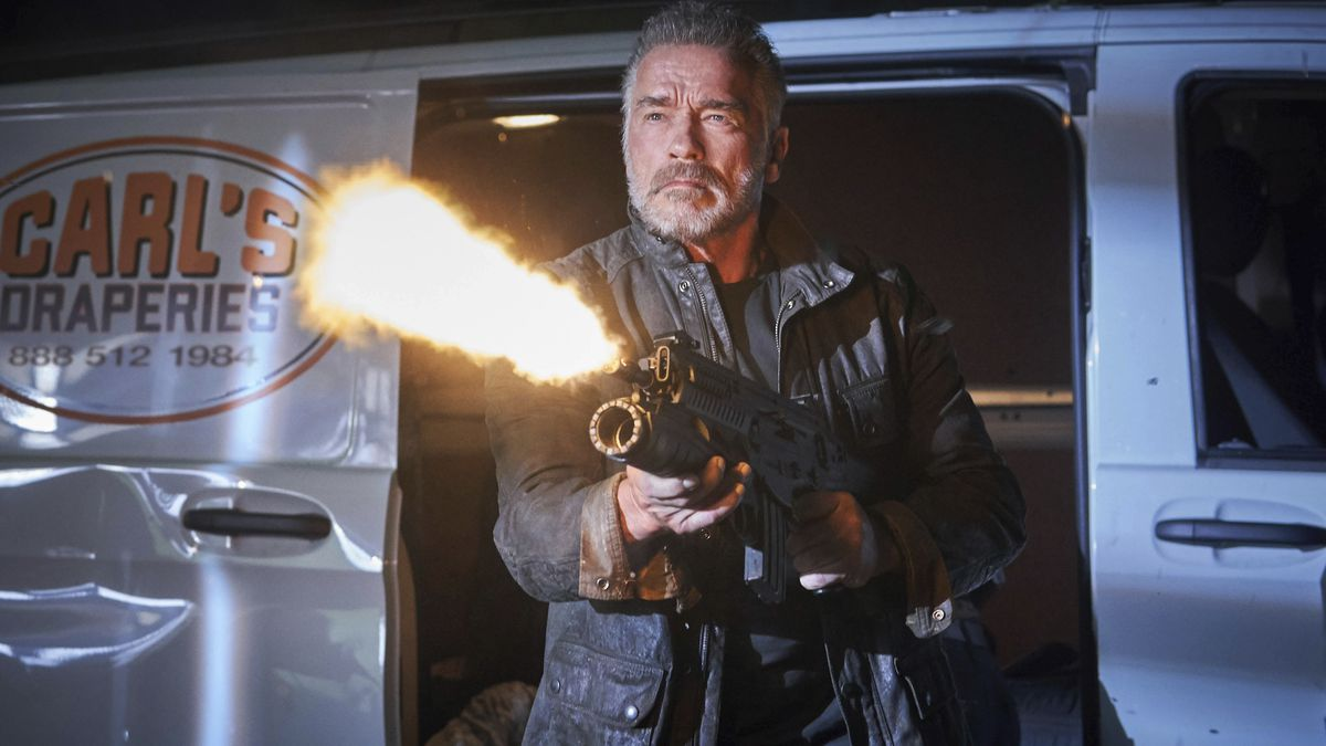 """Yes, he's baack! Arnold Schwarzenegger reprises his role as a Terminator (albeit a more cuddly one) in """"Terminator: Dark Fate."""""""