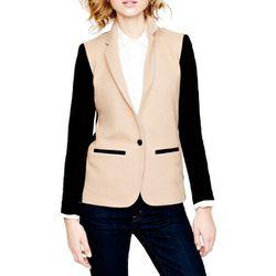 """<b>J.Crew</b> Contrast Knit Blazer, <a href=""""http://www.jcrew.com/womens_category/blazers/noveltyblazers/PRDOVR~11386/11386.jsp"""">$188</a>"""