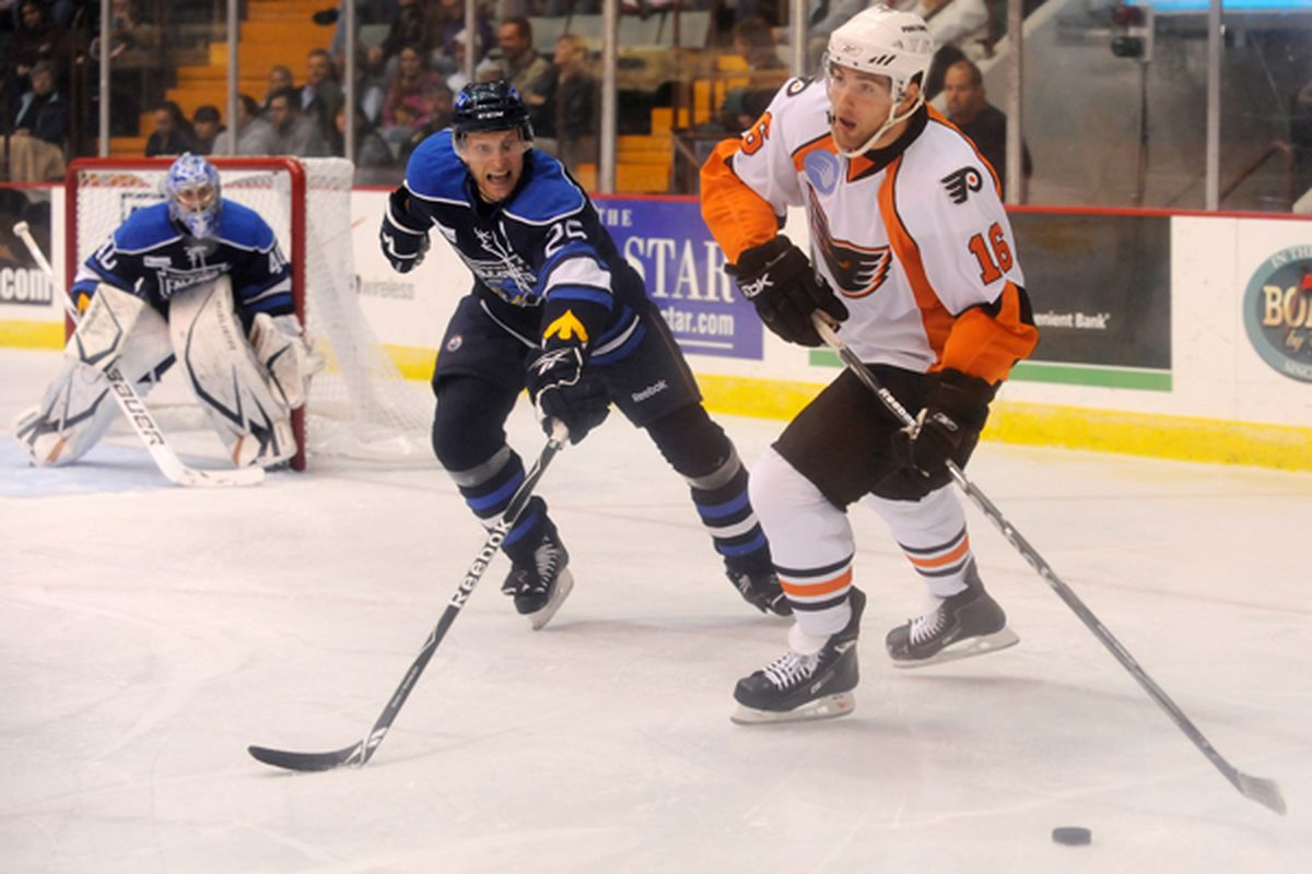 Adirondack Phantoms' Patrick Maroon controls the puck during their home game against the Springfield Falcons on Friday, October 09, 2009. T.J. Hooker - PostStar.com