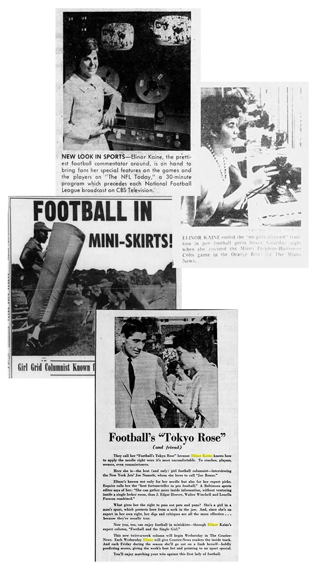 various clippings of Elinor and women involved in football coverage