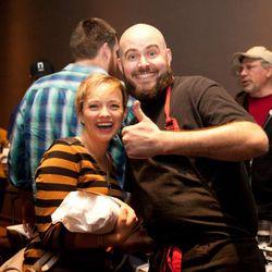 Tyge Nelson of Team La Belle Vie approves of Molly Mogren's meat