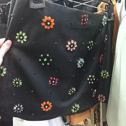 Sample black leather skirt with colored flower beading, $99