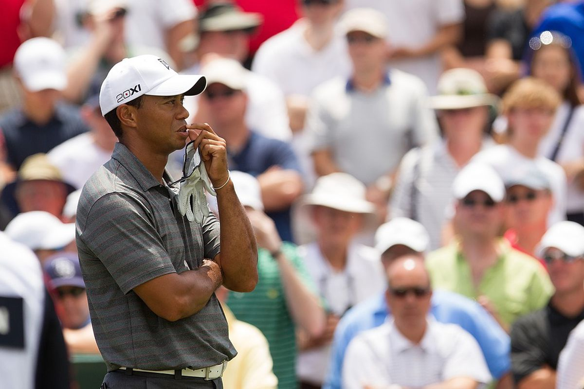 May 10, 2012; Ponte Vedra Beach, FL, USA; Tiger Woods on the tee of the third during the first round of the PLAYERS Championship at TPC Sawgrass.  Mandatory Credit: Allan Henry-US PRESSWIRE