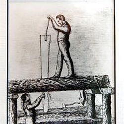 Old magazine illustration shows how a handsaw was used to cut logs into beams. The method was used to build the church.