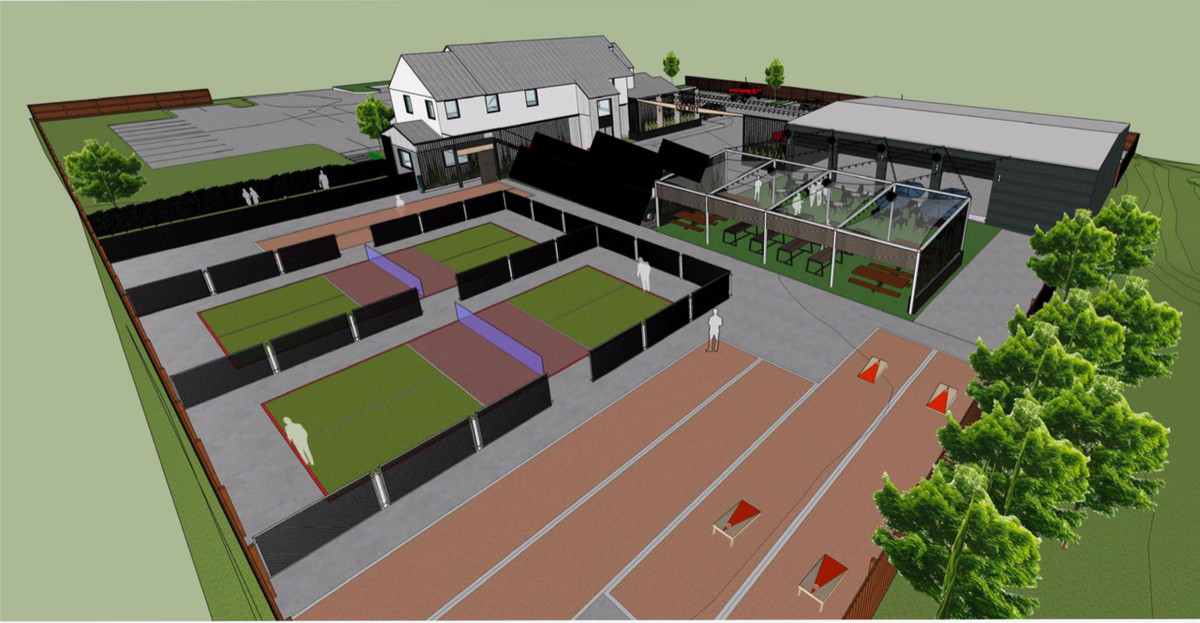 Rendering of Bouldin Acres's pickleball courts