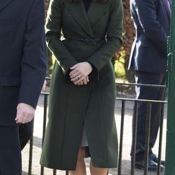 In Edinburgh, Scotland on February 24th, 2016 in a Sportmax coat and Le Kilt skirt.