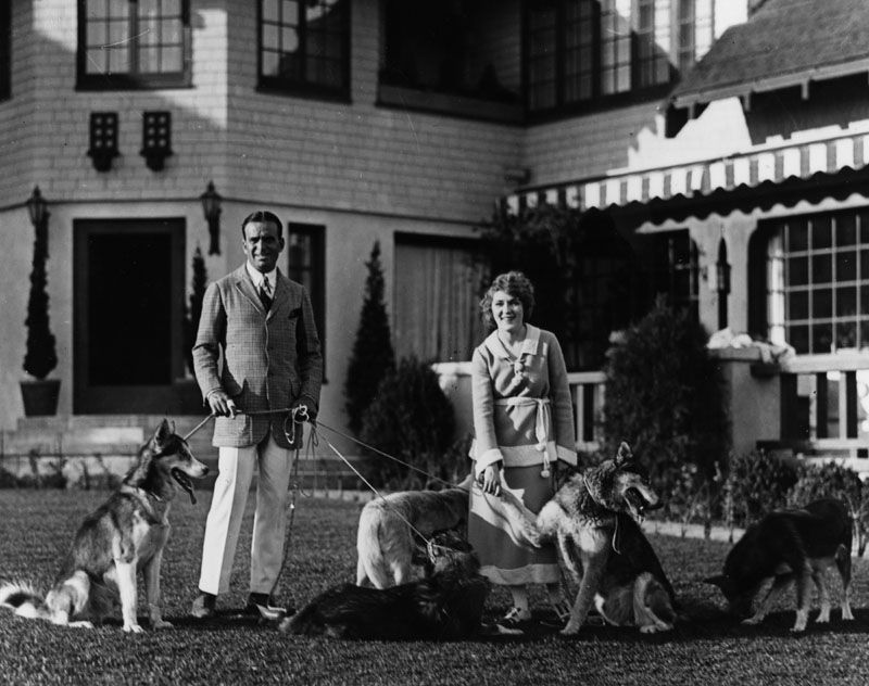 A man and woman and five dogs on leashes sit on the grass outside of a large house. The man is in a suit and the woman is in a dress.
