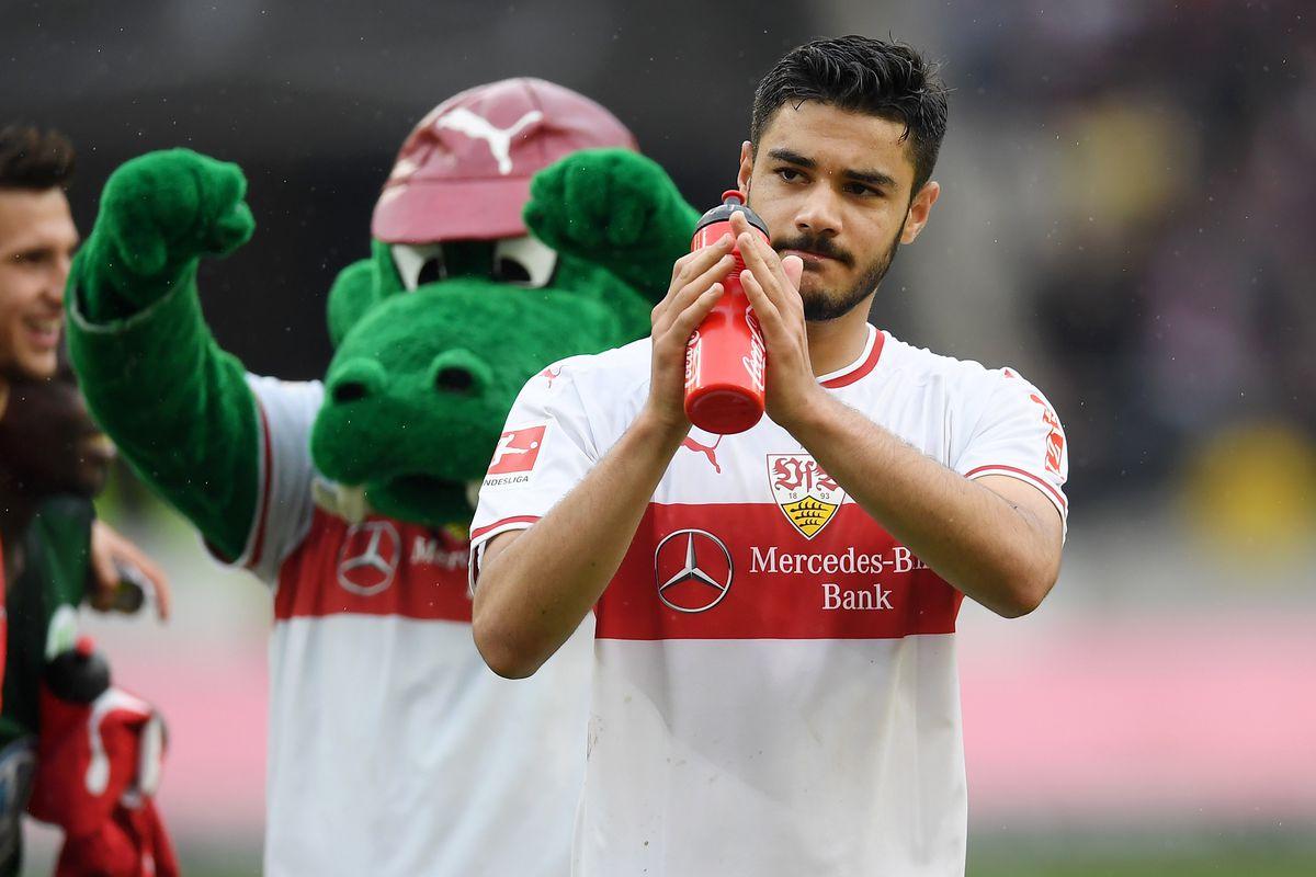 VfB Stuttgart v VfL Wolfsburg - Bundesliga STUTTGART, GERMANY - MAY 11: Ozan Kabak of VfB Stuttgart acknowledges the fans following the Bundesliga match between VfB Stuttgart and VfL Wolfsburg at Mercedes-Benz Arena on May 11, 2019 in Stuttgart, Germany.