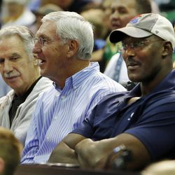 Karl Malone, right, Jerry Sloan and Phil Johnson watch as the Utah Jazz scrimmage in Salt Lake City, Saturday, Oct. 5, 2013.