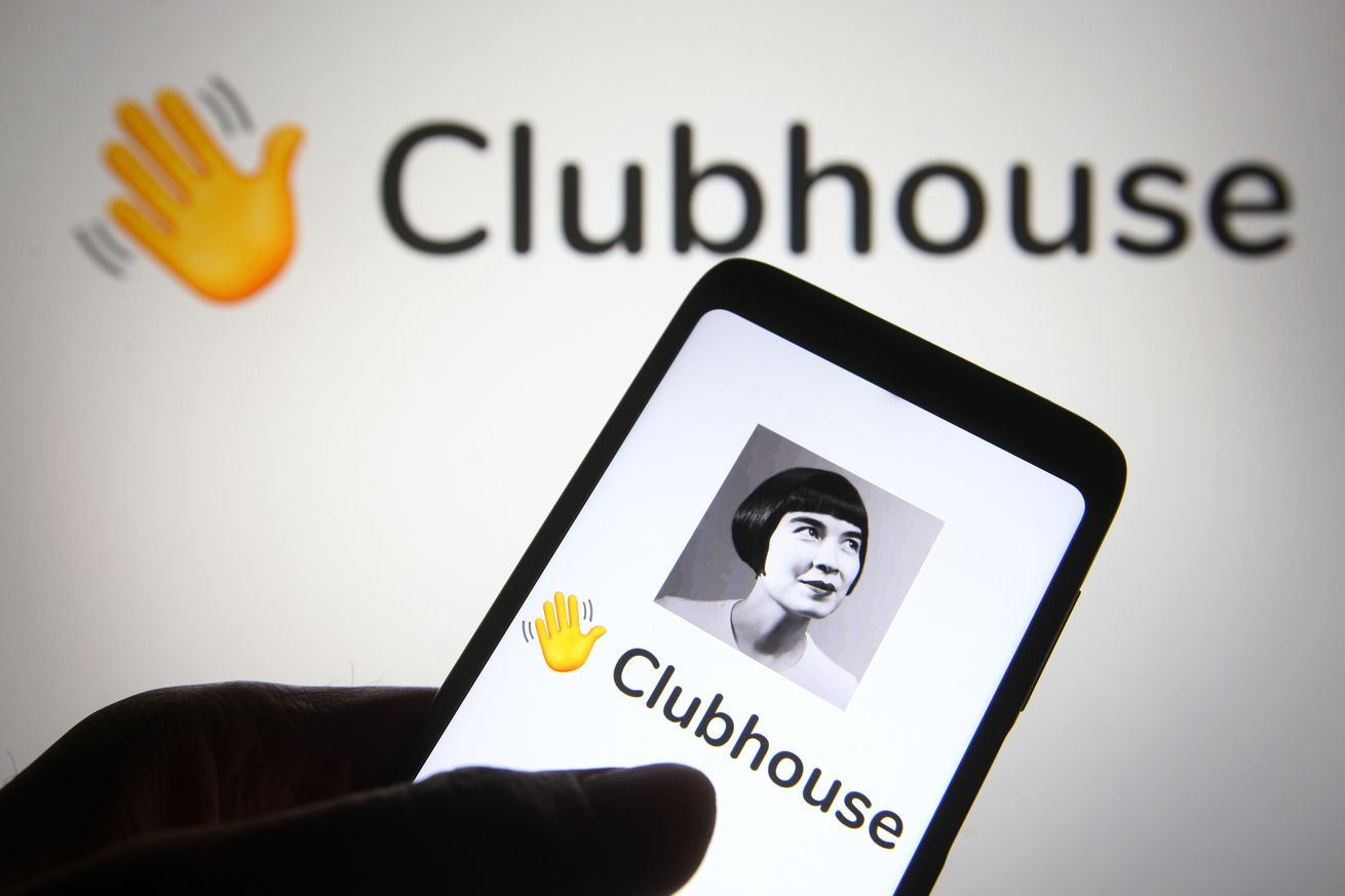 In this photo illustration the Clubhouse logo is seen on a smartphone screen
