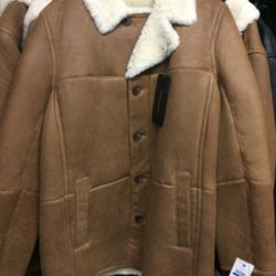 Men's shearling jacket, size XL, $699 ($1595)