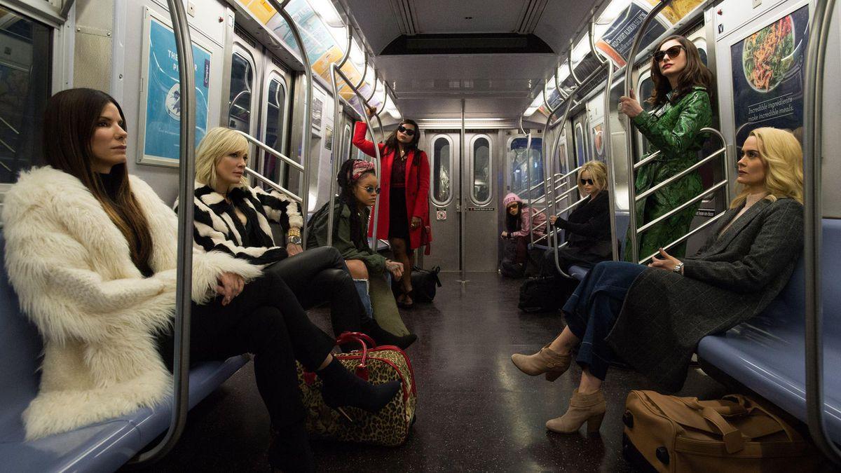 The 'Ocean's 8' cast in a subway car