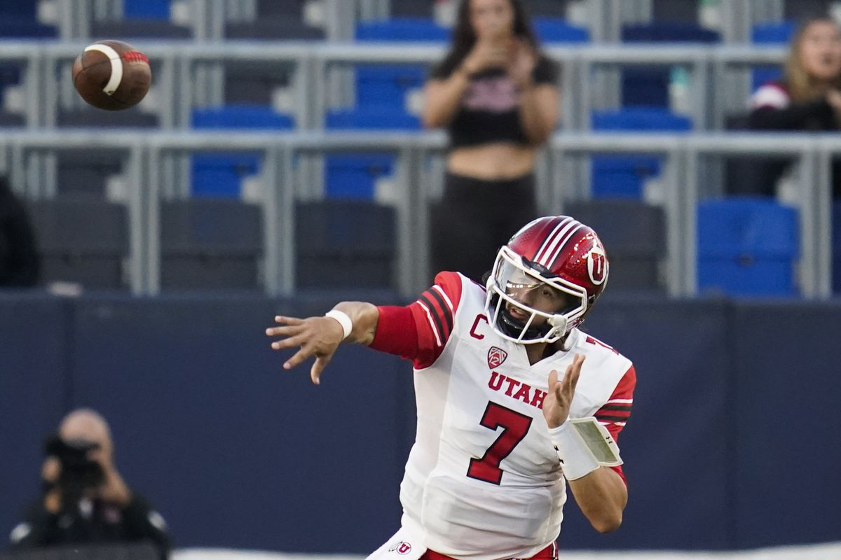Utah quarterback Cameron Rising throws a pass during game against San Diego State Saturday, Sept. 18, 2021, in Carson, Calif.