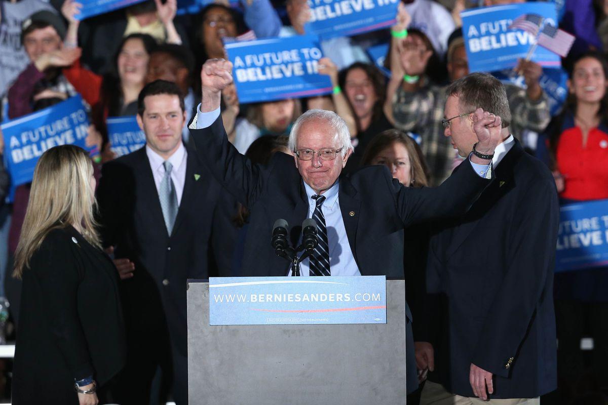 Democratic presidential candidate Bernie Sanders wins the New Hampshire Democratic primary.