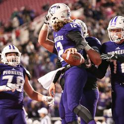 Lehi and Skyridge face off in the 5A football state championship game at Rice-Eccles Stadium in Salt Lake City on Friday, Nov. 17, 2017.