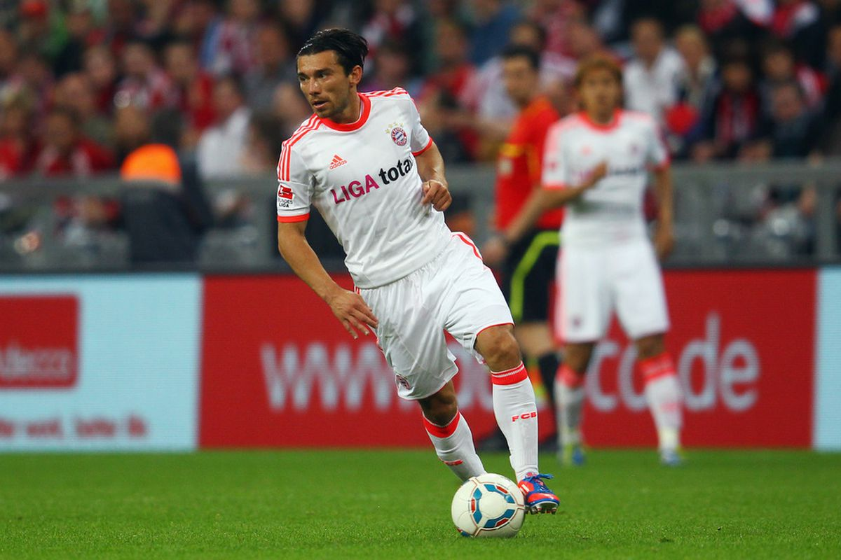 MUNICH, GERMANY - MAY 22: Danijel Pranjic of Muenchen runs with the ball during the friendly match between FC Bayern Muenchen and Netherlands at Allianz Arena on May 22, 2012 in Munich, Germany.  (Photo by Alex Grimm/Bongarts/Getty Images)