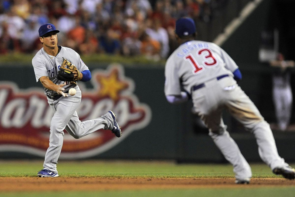 St. Louis, MO. USA; Chicago Cubs second baseman Darwin Barney flips the ball to shortstop Starlin Castro against the St. Louis Cardinals at Busch Stadium. Credit: Jeff Curry-US PRESSWIRE